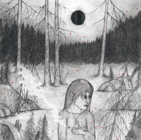 """Den norrländska natten. """"Det är ljust, men naturen har gått och lagt sig ändå. Allting är helt lugnt. Men den svarta månen signalerar att det alltid är något i annalkande."""" Bild ur Ragnar Perssons bok Vi ses i himlen (Orosdi-Back, 2014)."""