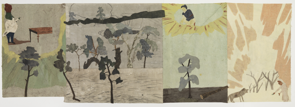Passing song/Hoodoo watchdog, av Jockum Nordström, 2014. Krita, blyerts och akvarell på papper, collage.