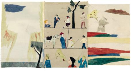 Dikten/The poem, av Jockum Nordström, 2015. Akvarell, blyerts och krita på papper, collage.